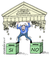 Cartoon: Yes or No? (small) by Cartoonarcadio tagged greece,europe,euro,money,finance,merkel,tsipras,crisis,debts