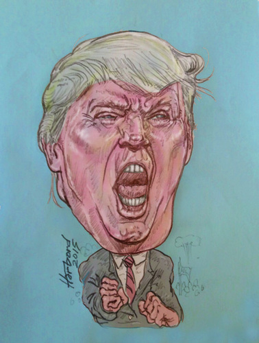 Cartoon: Donald Trump (medium) by Harbord tagged donald,trump,angry,politician