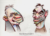 Cartoon: Anthony Hopkins and Javier Barde (small) by Alan HI tagged hopkins,hannibal,bardem