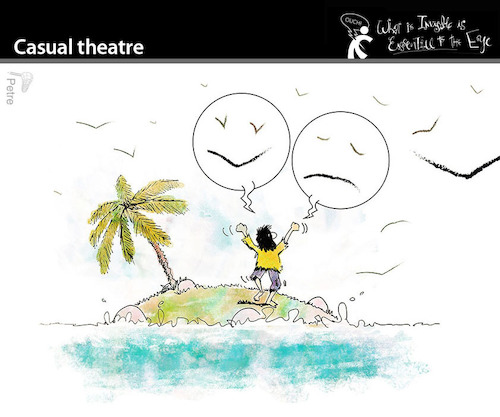 Cartoon: Casual Theatre (medium) by PETRE tagged island,theatre,castaway