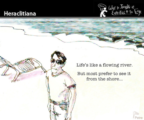 Cartoon: Heraclitiana (medium) by PETRE tagged life,people,river
