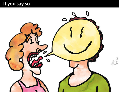Cartoon: If you say so (medium) by PETRE tagged language,couples,discussions