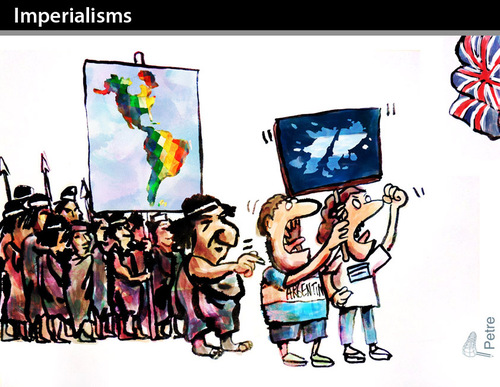 Cartoon: IMPERIALISMS (medium) by PETRE tagged indigenous,peoples,war,invasion,america,falklands,argentina,united,kingdom