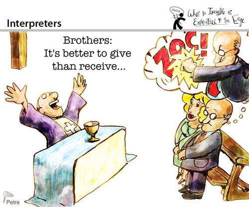 Cartoon: Interpreters (medium) by PETRE tagged facts,views