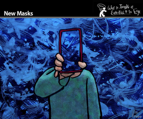 Cartoon: New Masks (medium) by PETRE tagged mask,face,maske,smartphone,socialnetwork,camouflage