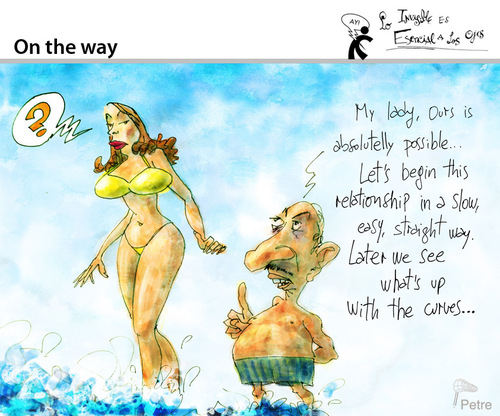 Cartoon: On the Way (medium) by PETRE tagged vacations,beach,sun