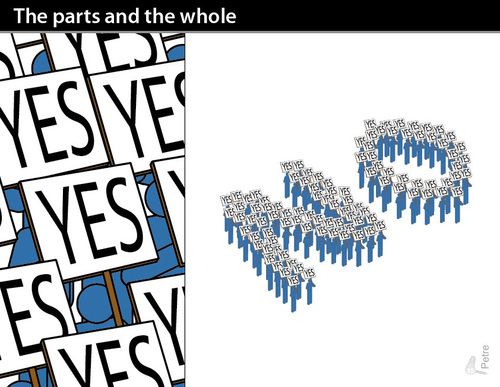 Cartoon: The parts and the whole (medium) by PETRE tagged the,gestalt,philosphy