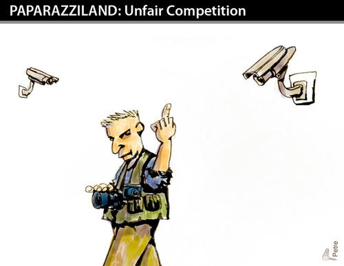 Cartoon: Unfair Competition (medium) by PETRE tagged paparazzi,cameras,photographer