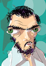 Cartoon: Julio Cortazar (small) by PETRE tagged literature,argentina,rayuela