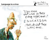 Cartoon: Language is a Virus (small) by PETRE tagged politics,correction,education,speechs
