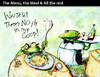 Cartoon: The Menu the Meal... (small) by PETRE tagged soup frogs restaurant wine food