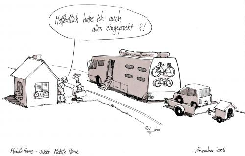 Cartoon: Home - sweet mobile home (medium) by Peter Knoblich tagged urlaub,holidays,mobile,home,wohnmobil,caravan,familie,family