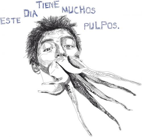 Cartoon: este dia tiene muchos pulpos (medium) by la pomme tagged portrait,vektor,octopuss,drawing