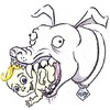 Cartoon: Pit Bull Eats Child (small) by ellemrcs tagged big,dog,eats,child,pit,bull,bully,fluffy