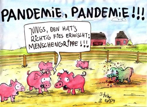 Cartoon: Pandemie Pandemie (medium) by Matthias Stehr tagged pandemie,pandemic,pig,flu,swine,influenza