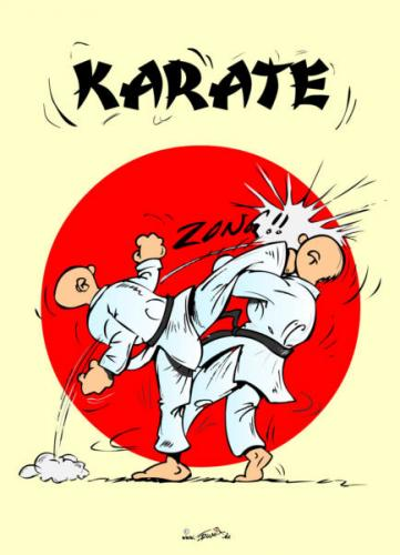 Cartoon: Karate - UraMawashiGeri (medium) by Trumix tagged karate,uramawashigeri,kampfsport