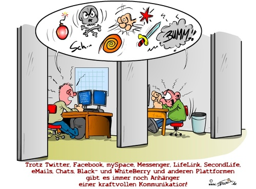 Cartoon: Kommunikationsmittel (medium) by Trumix tagged blackberry,chat,geschrei,laerm,messenger,schreien,trummix,twitter,absturz,pc,computer