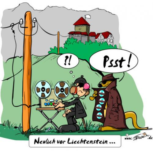 Cartoon: Neulich vor Lichtenstein (medium) by Trumix tagged bnd,lichtenstein,liechtenstein,bankgeheimnis,steueroase,steuerbetrug,steuerhinterziehung,vaduz,zumwinkel