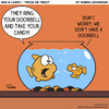 Cartoon: Ned and Larry - Trick Or Treat (small) by robincrossman tagged halloween,trick,treats,holiday,cartoon,cartoons,comic,comics,fish,goldfish,pets,pet,funny,strips,fishbowl,ned,larry,roommates