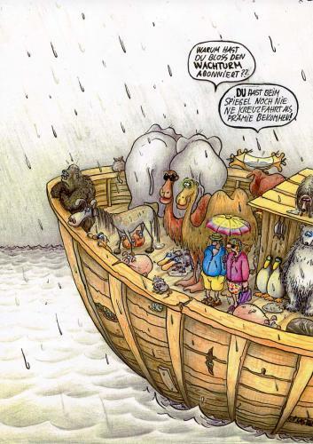 Cartoon: kreuzfahrt (medium) by Petra Kaster tagged verkaufszahlen,religion,schlechtwetterfront,weltuntergang,bibel,noah,arche,reisen,minute,last,prämien,kundenwerbung,stern,spiegel,wachturm