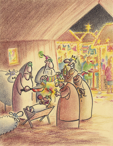weihnachtsmarkt von petra kaster religion cartoon toonpool. Black Bedroom Furniture Sets. Home Design Ideas