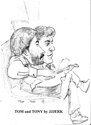 Cartoon: Tom and Tony (medium) by jjjerk tagged tom,tony,wexford,offaly,ireland,irish,music,guitar,singing,song,cartoon,caricature