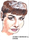 Cartoon: Audrey Hepburn (small) by jjjerk tagged audrey,hepburn,actress,actor,belgium,france,breakfast,tiffannys,portrait,cartoon,caricature,red