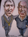 Cartoon: Mayor Andrew Montague and Harry (small) by jjjerk tagged mayor dublin ireland harry chain