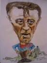 Cartoon: Robert Mirchum (small) by jjjerk tagged robert,mitchum,actor,cowboy,film,films,red,blue,cartoon,caricature,boot,hill,portrait