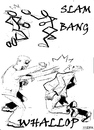 Cartoon: Slam bang Whallop (small) by jjjerk tagged slam bag whallop cartoon caricature fighting men