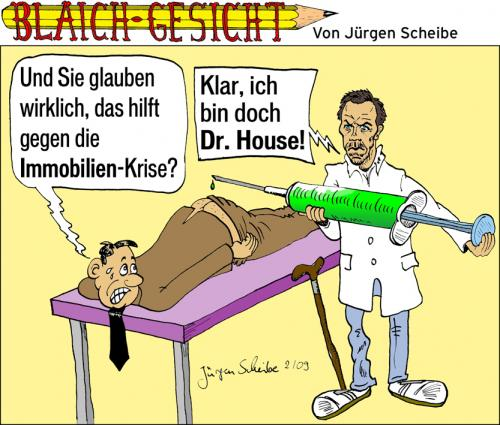 Cartoon: Dr. House (medium) by Scheibe tagged dr,house,hugh,laurie,immobilien,krise,crisis,arzt,spritze