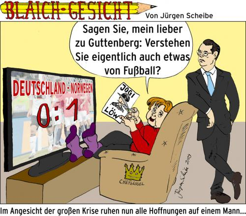Cartoon: Ein Fall für zu Guttenberg (medium) by Scheibe tagged zu,guttenberg,angela,merkel,nationalelf