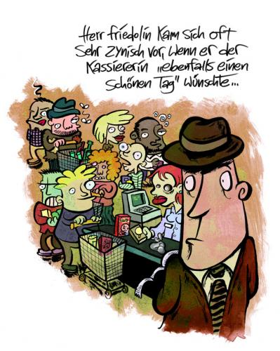 Cartoon: Herr Friedolin (medium) by moritz stetter tagged kasse,kassiererin,schlange