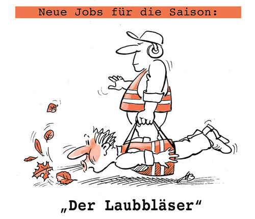 Cartoon: Der Laubbläser (medium) by Michael Becker tagged herbstlaub,bläser,straßenreinigung,fegen,pusten