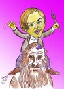Cartoon: dicaprio and davinci (small) by Hossein Kazem tagged leonardo dicaprio and davinci