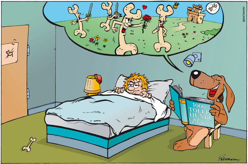 Cartoon: Dog Tales (medium) by Gabor Toons tagged dog,bedtime,story,fairy,tale