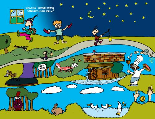 Cartoon: Heute mal was sportliches (medium) by The Ripple Brook tagged kinderlieder,cd,cover,rätselcartoon