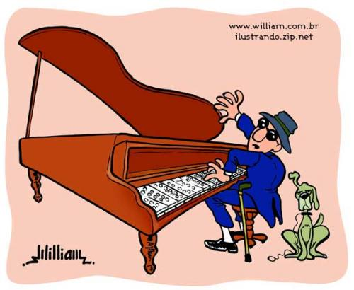 Cartoon: Blind pianist (medium) by William Medeiros tagged pianist,blind,dog,music,piano,