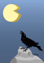 Cartoon: Full cheese (small) by LeeFelo tagged raven,cheese,howling,full,moon,black,hungry,rock,stone,feather