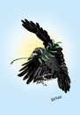 Cartoon: rook of peace (small) by LeeFelo tagged crow,raven,olive,branch,peace,mystic,magic,hope,spring,renewal,holly,bird,feathers,black,beak,claw,white,gray