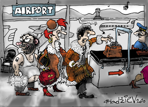 Cartoon: airport.... (medium) by ivo tagged wow