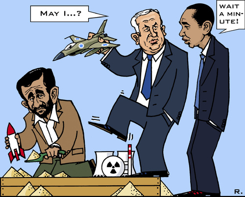 Cartoon: Dangerous Sandbox Games (medium) by RachelGold tagged iran,israel,usa,netanyahu,ahmadinejad,obama,bombing,nuclear,units