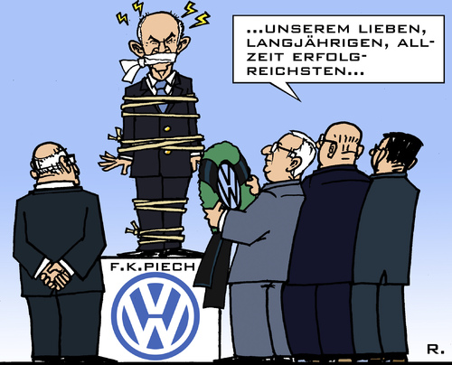 Cartoon: Lebendig zum Denkmal gemacht? (medium) by RachelGold tagged vw,volkswagen,piech,winterkorn,führungsstreit
