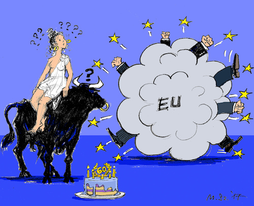 Cartoon: EU Birthday Party (medium) by MarkusSzy tagged eu,60,years,anniversary,rome,europe,bull,birthdaycake,fight,cloud