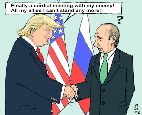 Cartoon: Helsinki Summit (medium) by MarkusSzy tagged usa,russia,summit,helsinki,trump,putin,enemy,ally