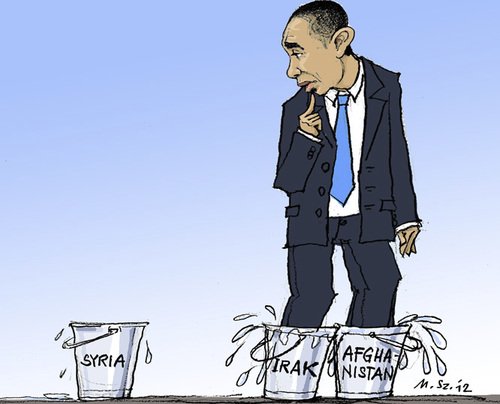 Cartoon: Intervention in Syria? (medium) by MarkusSzy tagged usa,syria,military,intervention,obama,buckets
