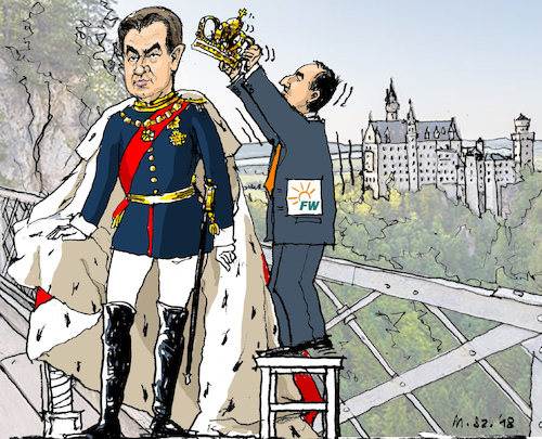 Königmacher in Bayern von MarkusSzy | Politik Cartoon | TOONPOOL