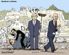 Cartoon: Handover in Athens (small) by MarkusSzy tagged greece,prime,minister,papandreou,papademos,venizelos,samaras,ruins,handover
