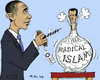 Cartoon: Jinn in a Bottle (small) by MarkusSzy tagged syria,usa,obama,assad,radical,islam