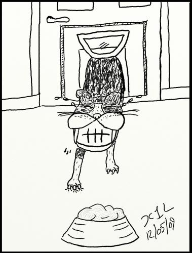 Cartoon: Dinnertime 2 (medium) by chriswannell tagged cat,dinner